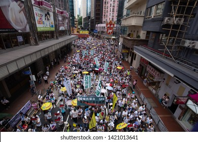 HONG KONG - June 9th 2019: Anti-Extradition Bill Demonstration in Hong Kong. The fugitive law amendment sparks 1.03 million people protest on the street, as organiser says.