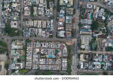 Hong Kong Kowloon urban cityscape drone