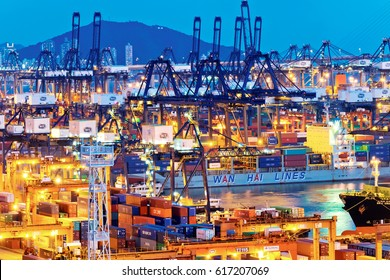 HONG KONG, Kwai Tsing - June 21, 2016: Kwai Tsing Container Terminals is the main port facilities in the reclamation along Rambler Channel between Kwai Chung and Tsing Yi Island, Hong Kong.