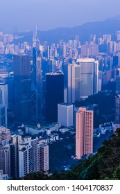 Hong Kong looks form summit of mountain