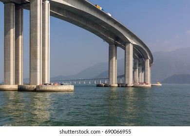 Hong Kong Macao Bridge ongoing construction project consisting of a series of bridges and tunnels crossing the Lingdingyang channel to connect Hong Kong, Macao and Zhuhai