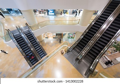 HONG KONG - MAR 17, 2017: The shopping arcade of Pacific Place. Pacific Place is a complex of office towers, hotels and a shopping centre situated at 88 Queensway, in Admiralty, Hong Kong.