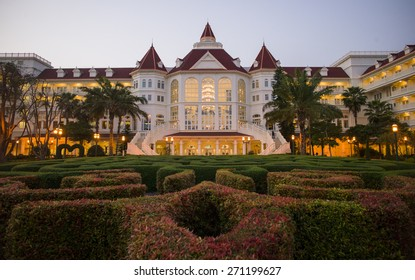HONG KONG - MAR 28: The beautiful garden in Disney Hotel Resort at sunset in Hong Kong on March 28 2015.