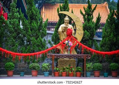 Hong Kong - Mar 30, 2017. Yue Lao Statue at Wong Tai Sin Temple in Hong Kong, China. Wong Tai Sin or Huang Daxian is a Chinese Taoist deity popular in Hong Kong.