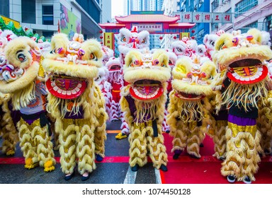 HONG KONG - MARCH 04 : Participants in the 14th Tai Kok Tsui temple fair in Hong Kong on March 04 2018. The temple fair is a Chinese cultural event held annually