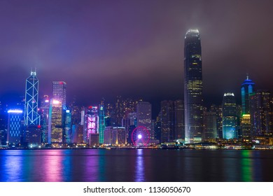 HONG KONG - MARCH 06 : The Hong Kong skyline at a foggy night on March 06 2018