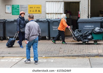 Hong Kong, Hong Kong - March 10, 2017: street scene in Kowloon, Hong Kong with unidentified people. Hong Kong is one of worlds most significant financial centres, 4th most densely populated state