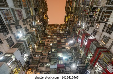 Hong Kong - March 10, 2019 - Crowded apartment homes in the Yick Fat, Yick Cheong, and Fok Cheong buildings at Montane Mansion