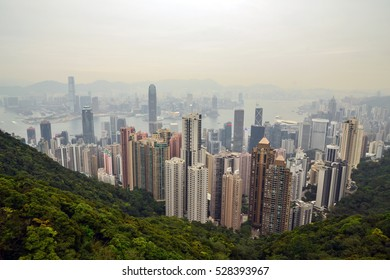 Hong Kong - March 11, 2016: Views of Hong Kong from the Victoria peak at day time.