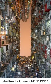 Hong Kong - March 11, 2019 - Cramped living spaces at the Montane Mansion apartments in Hong Kong's Quarry Bay district