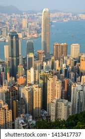 Hong Kong - March 11, 2019 - Tall skyscraper buildings in Hong Kong's busy Central District at sunset
