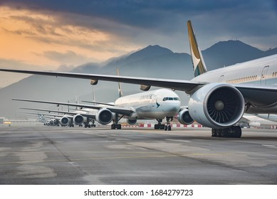 Hong Kong, March 12th 2020, due to  Coronavirus, Aircraft fleet parked at taxiway of Hong Kong International airport