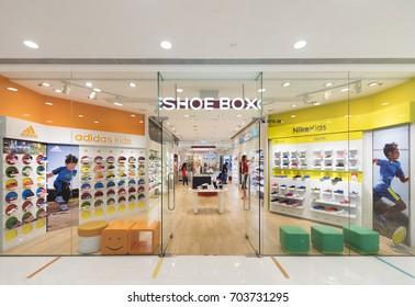 HONG KONG - MARCH 16, 2017: A Shoe Box store of childrens shoes in the Ocean Terminal, Harbour City. Ocean Terminal is a cruise terminal and shopping centre located on Canton Road.
