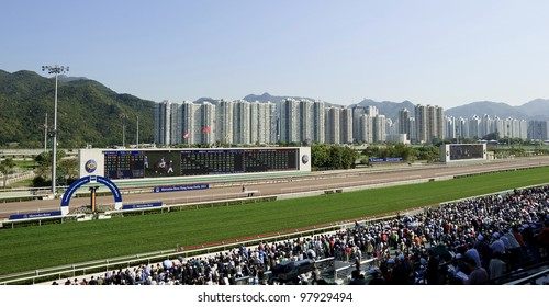HONG KONG - MARCH 18: Mercedes-Benz Hong Kong Derby 2012 is held in Shatin racecourse on March 18, 2012, Hong Kong, China. It is one of the most prestigious races on the domestic racing calendar.