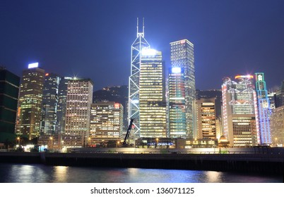 HONG KONG - MARCH 22: The skyscrapers at night in Hong Kong island on march 22 2013, One of the world's top city skylines, supporting the Hong Kong tourism