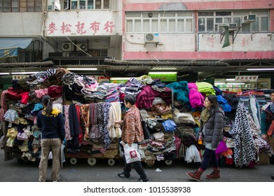 HONG KONG - MARCH  23 2015: The old residential buildings and market in Sham Shui Po, one of the oldest district in Kowloon.