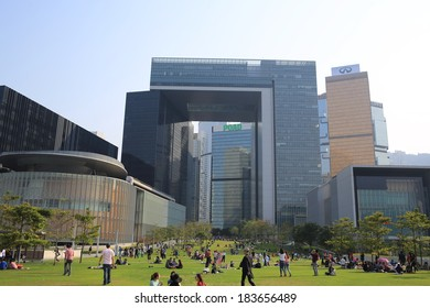 HONG KONG, MARCH 23: people go picnic on the grassland in front of Central Government Offices on 23 march 2014.or so called the Complex, Tamarit is the new location for the Government of Hong Kong .