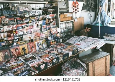 HONG KONG - MARCH 28, 2018 : Newspapers and magazines store on Hollywood Road in Sheung Wan, Hong Kong.