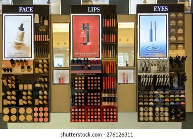 HONG KONG - MAY 05, 2015: cosmetics boutique interior. Hong Kong's cosmetics market is highly competitive and having no sales taxes