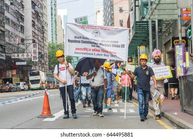 HONG KONG - MAY 1, 2017: Labors from outside Hong Kong participated at Labor Day Demonstration for respect of their work.
