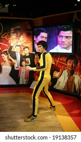 Hong Kong - May 15: Wax statue of Bruce Lee on exposition at Victoria Peak, Hong Kong, May 15, 2008