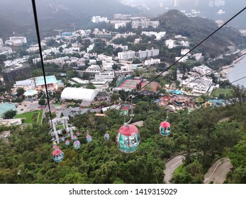Hong Kong, May 18, 2019 : View from Cable Car across the mountain in Ocean Park. There are 2 sides of park and transport by Cable Car and Train