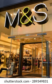 HONG KONG - MAY 2, 2015. M&S store in HK on May 2, 2015. Marks and Spencer specializes in the selling of clothing and luxury food products. 703 stores in UK and 361 stores in more than 40 countries.