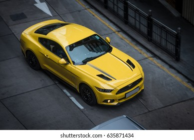 Hong Kong - May 2, 2017: tuned Ford Mustang in HK's mid-levels, a district famous for luxuries apartments and entertainment.