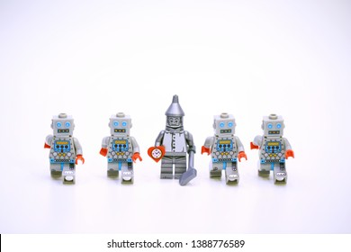 Hong Kong, May 2 2019 : lego mini characters from different genation which are isolated on white in hong kong. Lego minifigure are the successful line in Lego products