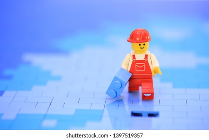 Hong Kong, May 2 2019 : lego mini characters worker and the bricks set. Lego minifigure are the successful line in Lego products