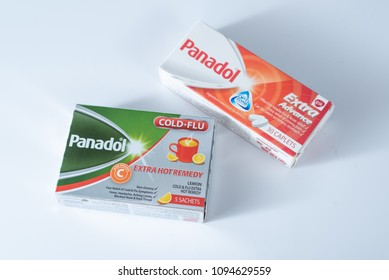 Hong Kong, Hong Kong - May 20 2018: Panadol product range by GlaxoSmithKline (GSK) plc on a white background.