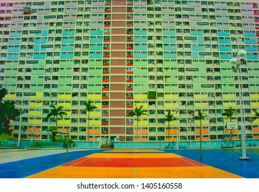 Hong Kong - May 2019: The bright colours of the basketball court and apartments of the Choi Hung estate in Hong Kong