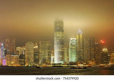 Hong Kong - May 21, 2008: Hong Kong Island Skyline as seen from Kowloon