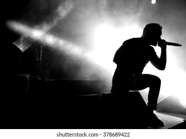 HONG KONG - May 22, 2015: We Came As Romans show, Vocalist Dave Stephens performed on stage