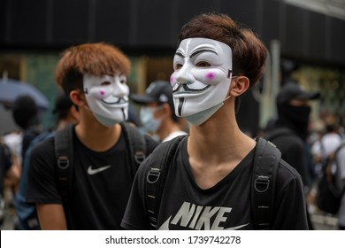Hong Kong - May 24, 2020: Anit National Security Law protest in Hong Kong. Police fire tear gas.