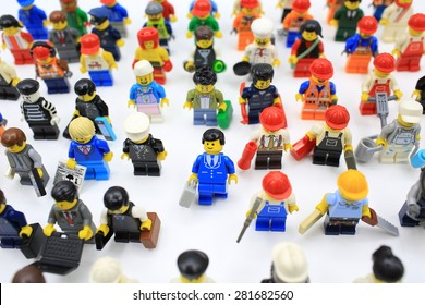 HONG KONG, MAY 25: Studio shot of Lego people, combine from different set in hong kong on 25 May 2015.Legos are a popular line of plastic construction toys manufactured by The Lego Group in Denmark