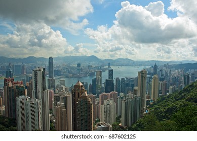 HONG KONG – MAY 29, 2007: cityscape from the Peak. With a record of more than 1200 skyscrapers, the city is first in the world for number of skyscrapers.