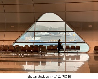 Hong Kong -May 30 2019: the international cruise park in the Kai Tak Cruise Terminal. Kai Tak Cruise Terminal is a luxury cruise ship terminal that opened at the former Kai Tak Airport runway at Hong