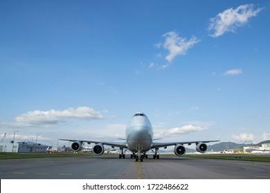 Hong Kong, May 4, 2020, due to Coronavirus, more aircraft parked at taxiway at Hong Kong International airport