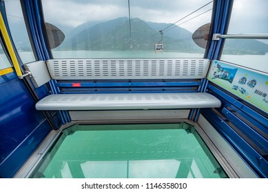 Hong Kong - May 4,2018 : The Ngong Ping 360 cable car from Tung Chung station to Ngong Ping village on Lantau Island in Hong Kong , the worlds most amazing cable car.