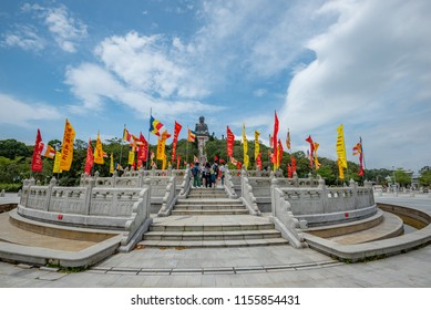 Hong Kong - May 4,2018 : The tourists visit the enormous Tian Tan Buddha  statue at Po Lin Monastery in Ngong Ping, Hong Kong.