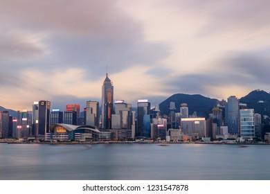 Hong Kong, May 6, 2018: Magnificent cityscape on both sides of Victoria Harbour