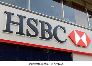HONG KONG- MAY 8, 2015: HSBC bank logo in Hong Kong - HSBC is a British multinational banking and financial services and headquartered in London.