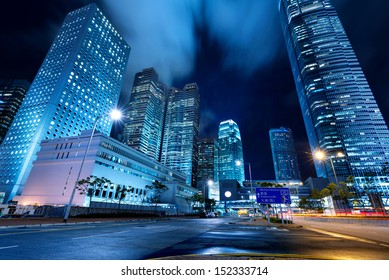 Hong Kong night, the city's modern high-rise.