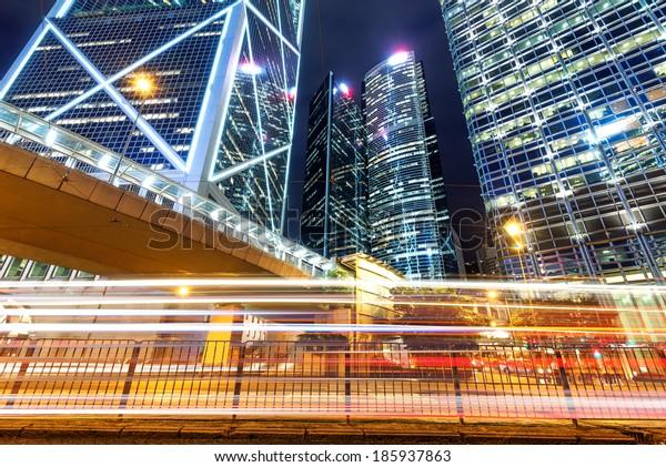 Hong Kong night, the city's modern high-rise.