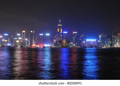 Hong Kong at night. General view