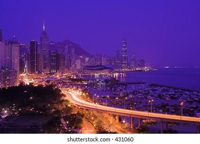 Hong Kong Night Sky and roads