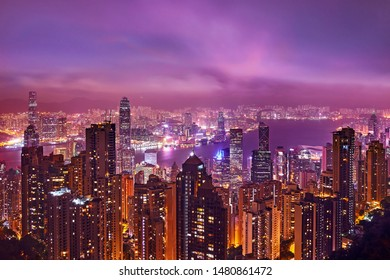 Hong Kong night skyline. Magnificent landscape of city night life