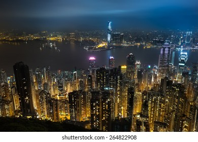 Hong kong at night from Victoria Peak