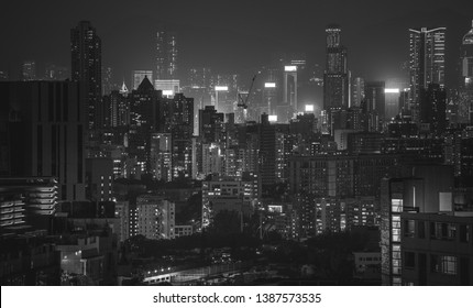 Hong Kong night view in Black and white
